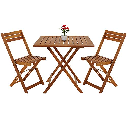 Deuba Balcony Table Chair Set Acacia Wood Patio Conservatory Outdoor Bistro Coffee