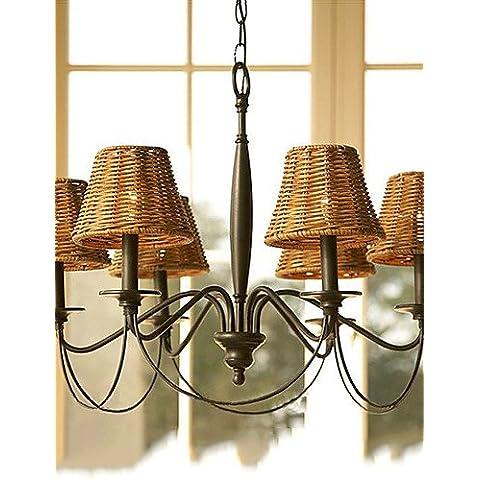 60W las lámparas colgantes Retro con 6 luces y sombras de caña , 220-240 V