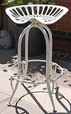 Industrial Vintage Bar Stool, Tractor Seat Metal Shabby White Finish - low-cost UK light store.