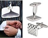 Mens Silver Square Checkerboard Cufflinks