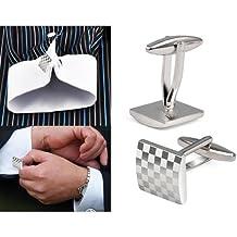 SODIAL(R) Gemelos de Acero Inoxidable Plateado para Camisa del Negocio Diseno de Enrejado Cuadrado