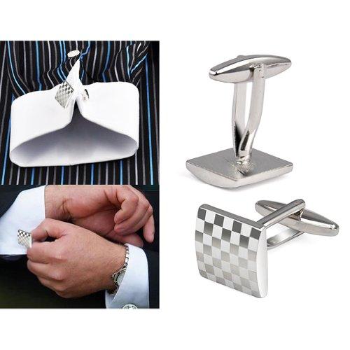 SODIAL (R) Uomo Gemelli quadrato in acciaio inox Camicia d'affari Argento Piazza Lattice nozze