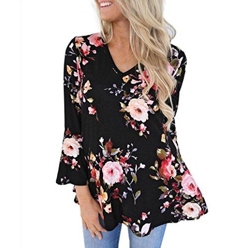 Kavitoz Hot Sale,Women Autumn Casual Floral Printing Plus Size Long Flare Sleeve Tops T-Shirt Blouse