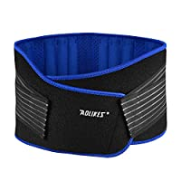 AOLIKES Lumbar Support Belt Lower Back Belt Wrap Adjustable Compression Waist Brace for Men Women Pain Relief Injury Prevention Posture Correction Neoprene