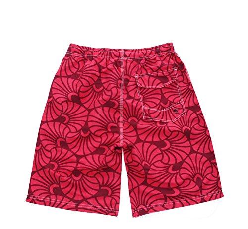 HYHAN Hommes d'été Sports de plein air en vrac grands chantiers de Pantalons Casual à séchage rapide randonnée imperméables pantalon court plage Fitness Red