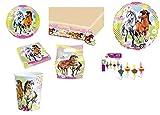 Mgs33 Kit XXL Mes Chevaux de Charme 48 Pièces Anniversaire Fête 8 Enfants (8 gobelets, 8 Assiettes et 20 Serviettes + 1 Nappe + 6 Sac à Bonbons + 4 Bougies + 1 Ballon Métallique)