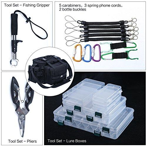 LOCAL LION Lure Bag Angeltasche Tackleboxen Anglertasche zum Spinnfischen Ködertasche Spinnertasche mit Werkzeug (5 Köderboxen, Fischgreifer, Zange) ...