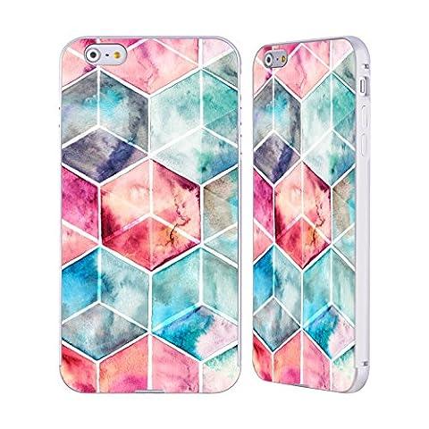 Offizielle Micklyn Le Feuvre Hexagon Kuben Muster 6 Silber Rahmen Hülle mit Bumper aus Aluminium für Apple iPhone 6 Plus / 6s Plus