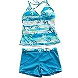 HUANQIUE Girls Youth Gorgeous Tie-Dye 2PCS Tankini Swimwear Swimsuit 3-16Y
