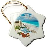 3dRose ORN 86658_ 1Resort, Cancún, mexico-sa13gjo0171-greg Johnston-Snowflake Adorno, 7,62cm, Porcelana