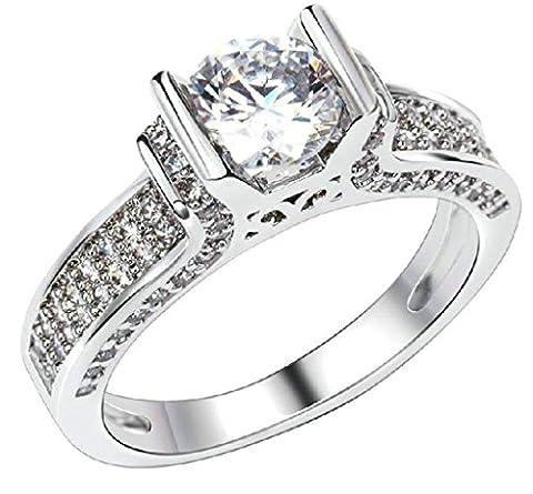 (Custom Ringe)Adisaer Vergoldet Damen Ringe in Gold Eheringe mit Gravur Rundschnitt Zirkonia Verlobungsring Diamant Größe 54 (17.2) Weiß