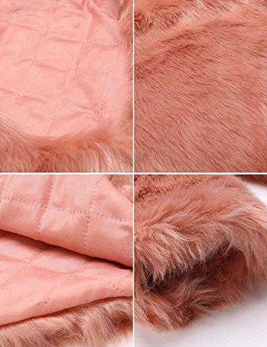 Soteer Damen Winterjacke Fellimitatjacke Kunstpelz Mantel Outwear Rundhalsausschnitt Rosa