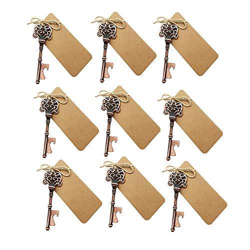 Anjing 10 Stück Hochzeit Rustikal Vintage Skelett Schlüssel Flaschenöffner mit Escort Card Tag Dekoration Bronze