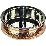 Original India cuencos de arroz Handi (Dechki), de acero inoxidable y cobre, 20 cm de diámetro