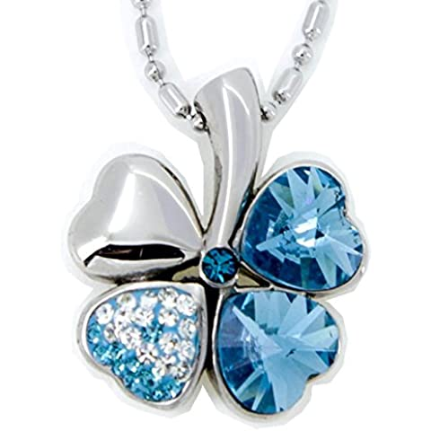 Incantevole Ciondolo Qradrifoglio Aquamarine Blu con Swarovski Tanzanite a forma di Cuore Energetix 4you 1646 Gioielli Magnetici compresi catena