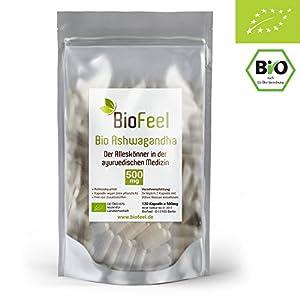 BioFeel – BIO Ashwagandha Kapseln – 120 Stk, 500mg – Indische Ayurveda Lehre – Indischer Ginseng