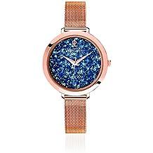 Pierre Lannier - 097M968 - Elegance Cristal - Montre Femme - Quartz Analogique - Cadran Bleu - Bracelet Acier plaqué Rose