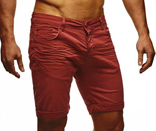 LEIF NELSON Herren Jeans Shorts LN1398 Bordeaux