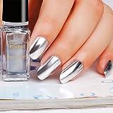 samLIKE Nagellack, Spiegel Nagellack Überzug Silber Paste Metall Farbe Spiegel Silber Base Coat für Nail Art (A)