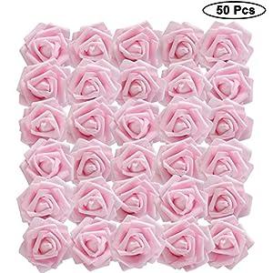 BELLE VOUS Flores Artificial (50 Pcs) – Artificiales Rosas Rosado Falsas con Vástago Ajustable 18cm para Bricolaje Ramos…