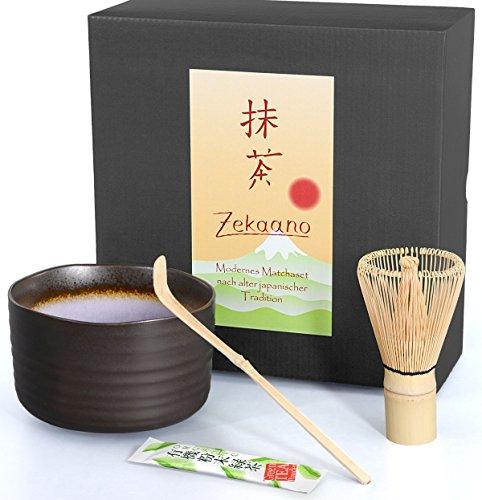Matcha-Set 3-teilig, anthrazit/violett, bestehend aus Matcha-schale, Matcha-löffel und Matcha-besen (Bambus) in Geschenkbox. Original Aricola®