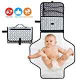 SOFTEEN Baby Changing Mat, Portable Nappy Changing Mat Clutch Bag w/Wrist Strap, Water-repellent Folding Baby Travel Changing Kit Cover Diaper Changing Pad, Present for Mom of Newborn Infant