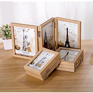 Sobotoo Vintage Creative Wooden Triple Fold Box Square Screen-swing Desk Photo Frame Family Picture Frames Box Photos Standing Storage
