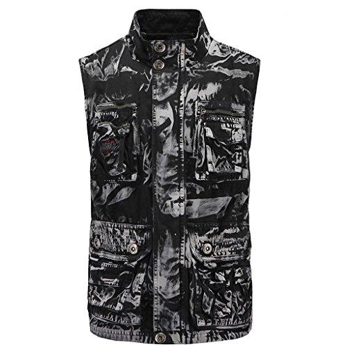 Elonglin Homme Gilet Sans Manches Veste de camouflage Outdoor Vêtements d'Alpinisme Coton Vest Casual Multi-Poches Noir et Blanc