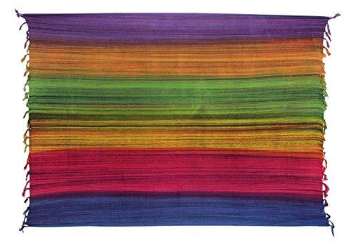 Sarong ca. 170cm x 110cm Mehrfarbig Multicolor Gestreift Handgefertigt inkl. Sarongschnalle im Runden Design - Viele Farben zur Auswahl - Pareo Dhoti Lunghi Lila Orange Grün Fuchsia