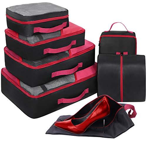 Set di 7 Organizer Valigie, Cubi per Valigia, Faxsthy Viaggio Dei Bagagli Organizzatore per i Vestiti Scarpa Cosmetico (Noir+rouge)