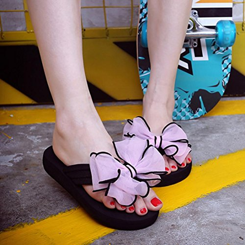 Femmes Tongs Slipper ,OverDose ÉTé Tongs Avec Deux NœUds ReliéS Fleurs Flip-Flops Sandales Rose