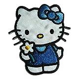 Aufnäher / Bügelbild - Hello Kitty Comic Kinder - blau - 6,2x5,6cm - by catch-the-patch® Patch Aufbügler Applikationen zum aufbügeln Applikation Patches Flicken