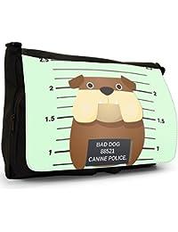 Preisvergleich für Gegenüberstellung Polizei böse unartige Hunde Große Messenger- / Laptop- / Schultasche Schultertasche aus schwarzem...