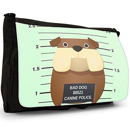 Gegenüberstellung Polizei Englische Britische Bulldogge Große Messenger- / Laptop- / Schultasche Schultertasche aus schwarzem Canvas