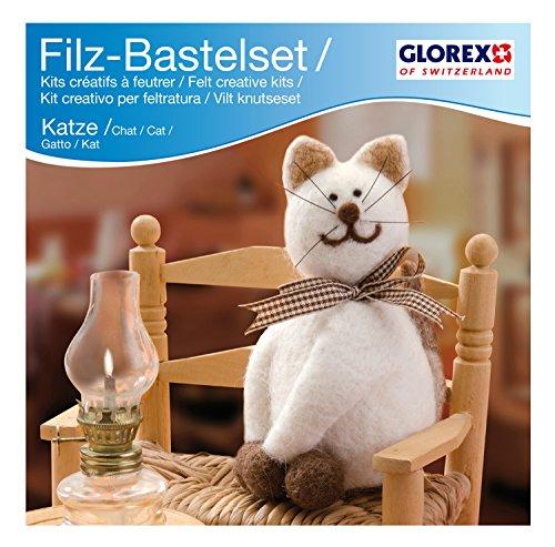 Glorex GmbH 6 2902 603 – Filz-Creativ-Set Katze 14 x 7cm