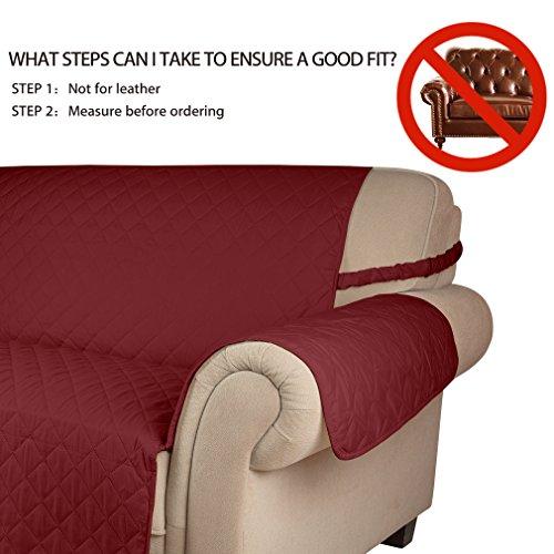 KINLO® Sofahusse 3 Sitzer 167×165 Weinrot Sofa überwurf 100% Baumwolle Füllung - 2