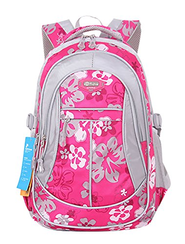 SellerFun® Kid Child Girl Flower Printed Waterproof Backpack School Bag(Rose,Large)