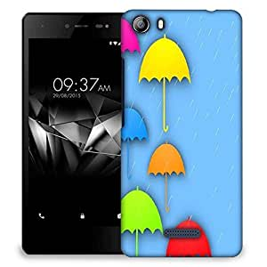 Snoogg abstract rainy season background with colorful umbrella and raindrops Designer Protective Back Case Cover For Micromax Canvas 5 E481