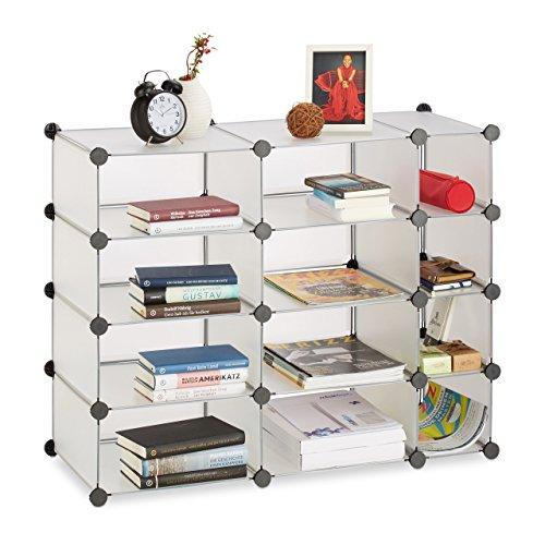 Relaxdays Regalsystem mit 12 Fächern, flaches DIY Steckregal, Kunststoff Allzweckregal 74 x 92 x 36,5 cm, transparent