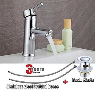 Modern Brass Chrome Bathroom Single Lever Basin Mono Mixer Tap + Pop up Waste UK