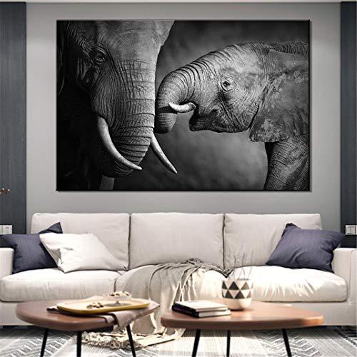 FENGCLOCK Elefantes en Blanco y Negro Animales Pintura de Lienzo, Pintura de...