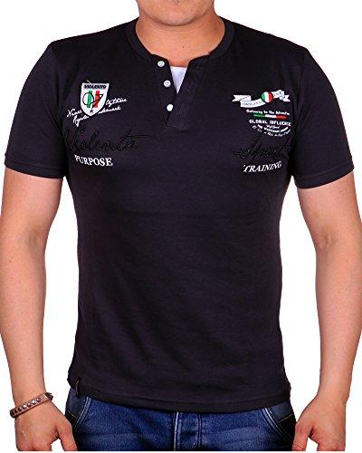 Herren T Shirt Rundhals | T-Shirt für Herren Slim Fit | Herren T Shirt mit hinterlegter Knopfleiste | | kurzarm Herrenhirt mit Patches und Logos | sportliches Sommer Shirt 2417 Grau 2417