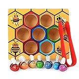 AchidistviQ Holz Bienenkorb Spiele Bord 7 Stücke Bienen Klemmen Sammeln Fangen Pädagogische Kinder Spielzeug