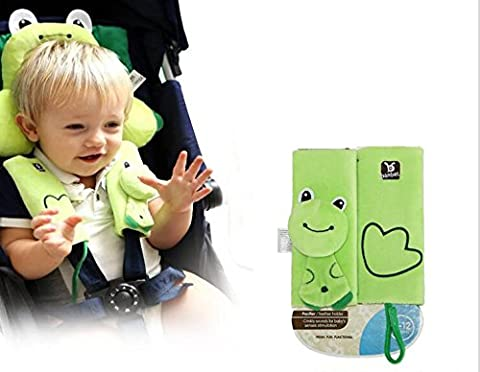 1 to 4 Years Baby Animal series Neck Protection Pillow U-Shape Cotton Newborn Shaping Pillows Baby Grows Safety Seat Headrest and Safety Seat Belt Protection Cover Shoulder Pad 2pcs One Pair (color