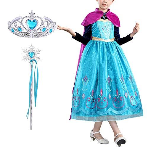 FStory&Winyee Kinder Prinzessin Anna Kostüm für Karneval Verkleidung Party Mädchen Eiskönigin Kleid mit Umhang Frozen Cosplay Fasching Kostüme Weihnachten Geburtstag Geschenk Mädchen 3-11 (Frozen Elsa Schnee Königin Kostüm)