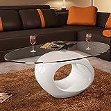 Festnight Table Basse de Salon 115 x 65 x 40cm en Verre avec Pied Blanc laqué