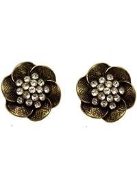 Acosta - Antique Gold Coloured - Crystal Rose Flower Stud Earrings FPg06Ciqz