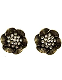 Acosta - Antique Gold Coloured - Crystal Rose Flower Stud Earrings