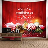 xkjymx Navidad Tapiz de Viento muñeco de Nieve de Navidad Nieve árbol Campana patrón Colgando Bola de Tela Debajo de 180 * 180 CM