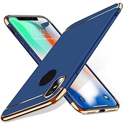QINPIN Luxuriöser, dünner Hartschalenschutz für das iPhone XS max Blau